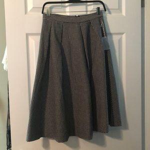 Black and white checked midi skirt S